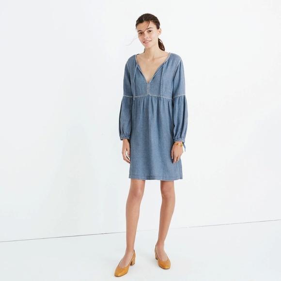 663ae513b9 Madewell indigo peasant dress